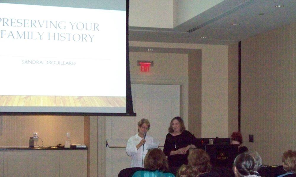 "Irene Eberwein introducing Sandra Drouillard, the Bess Bardens speaker,  who presented ""Preserving Family Memories"""